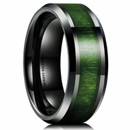 8mm - Unisex or Men's Tungsten Wedding Bands. Black with High Polish Green Wood Inlay and Beveled Edges