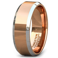 8mm - Unisex or Men's Tungsten Wedding Bands. Rose Gold Ring with Two Tone Silver Side Stripes High Polish Comfort Fit