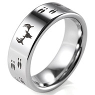 8mm - Unisex or Men's Hunting Ring / Deer Crossing Wedding Band. Silver Tungsten Band with Deer Antler and Hooves Laser Design. Hunter's Wedding Band Comfort Fit Ring