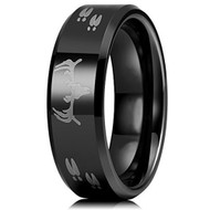 8mm - Unisex or Men's Hunting Ring / Deer Crossing Wedding Band. Black Tungsten Band with Deer Antler and Hooves Laser Design. Hunter's Wedding Band Comfort Fit Ring