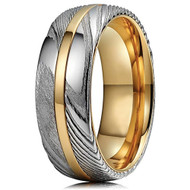 8mm -  Unisex or Men's Real Damascus Steel Silver and 14K Gold Stripe Inlay Wedding Ring - Domed Style