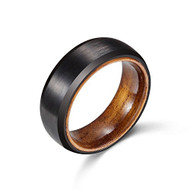 8mm - Unisex or Mens Tungsten Ring. Matte Finish Black Domed Wedding Band with Wood Interior Comfort Fit