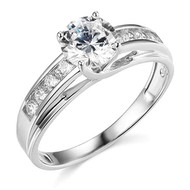14k White Gold Engagement rings for women - AAA Cubic Zirconia / CZ Stone Simulated Diamonds Women's wedding ring.