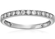 Women's 14K White Gold Diamond Wedding Band. Simple Elegant Band - 1/4 CT Milgrain Diamond Wedding Band in 14K White Gold