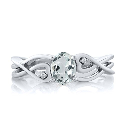 Women's Light Blue Aquamarine Stone and White Diamond Wedding Band 925- Sterling Silver Ring