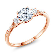 Women's Engagement Ring - 10K Rose Gold Sapphire Gem Stone with Diamond Accents - Three-Stone Women's Engagement Ring set with White Sapphire 1.34 cttw