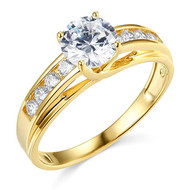 14k Yellow Gold Engagement rings for women - AAA Cubic Zirconia / CZ Stone Simulated Diamonds Women's wedding ring.