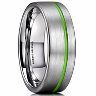 8mm - Unisex or Men's Tungsten Wedding Band. Silver and Green Line Matte Finish Tungsten Carbide Ring. Pipe Cut