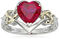 Women's Ruby Heart Wedding Band. Sterling Silver and 14k Yellow Gold with Diamonds and Heart Shaped Ruby Stone