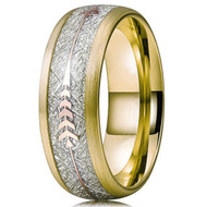8mm - Unisex or Men's Tungsten Wedding Bands. 18K Plated Yellow Gold Tone Cupid's Arrow Ring with Inspired Meteorite Inlay. Tungsten Carbide Domed Top Ring.