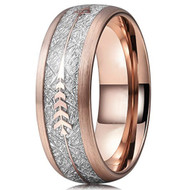 8mm - Unisex or Men's Tungsten Wedding Bands. 18K Plated Rose Gold Tone Cupid's Arrow Ring with Inspired Meteorite Inlay. Tungsten Carbide Domed Top Ring.