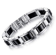 "8.5"" inch - Steel Bracelet Mens - Duo Tone - Black and Silver - Magnetic Mens Stainless Steel Bracelets"