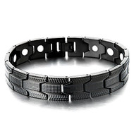 "8.5"" Inch - Black Tone Stainless Steel Magnetic Bracelet Mens. Black ion-plated bracelet for men with strong magnets."