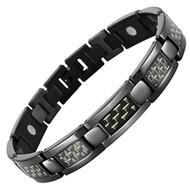 "8.5"" Inch - Black Magnetic Titanium Bracelet Mens - Black Carbon Fiber with a Hint of Gold tones. Wedding Bracelet  or Casual Wear Gift for Him"