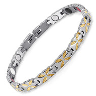 "8"" Inch - Magnetic Stainless Steel Bracelet Womens - Gold and Silver Tone Women's Stainless Steel Magnetic Bracelet with magnets, far infrared, germanium and negative Ion technology)"