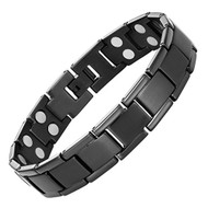 "8.5"" Inch - Magnetic Black Titanium Bracelet Mens. Black Double Strength Titanium Magnetic Bracelet For Men"