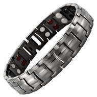 "8.5"" Inch - Dark Grey Magnetic Titanium Bracelet Mens - Double Strength  Titanium Magnetic Bracelet - Gunmetal Gray Tone"