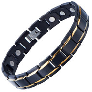 """8.5"""" Inch - Gold and Black Magnetic Stainless Steel Bracelet Mens - Magnetic Stainless Steel Mens Gold and Black Power Element Bracelet with Strong Magnets and Clasp"""