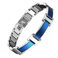 "8.5"" Inch - Blue Titanium Magnetic Bracelet Mens - Blue and Silver Link Design"