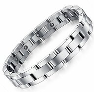 "8.5"" Inch - Magnetic Stainless Steel Bracelet Mens - Sleek Magnetic Bracelet with All Silver Tone Links"