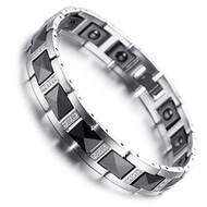 "8"" Inch  - Tungsten Bracelet Mens - Faceted Black and Silver Tones Style Design with CZ Stones."