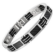 """8.5"""" Inch - Titanium Bracelet Mens - Carbon Fiber Titanium Magnetic Bracelet - Black and Silver"""