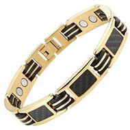 8.5 Inch - Tungsten Bracelet Mens - Gold Tone Carbon Fiber Titanium Magnetic Bracelet