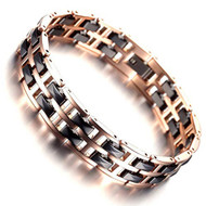 "8"" Inch - Unisex or Men's Rose Gold Tungsten Carbide Black Ceramic Bracelet - Two Tone Polished Link Tungsten Bracelet Mens"