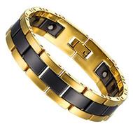 "8.25"" Inch - Tungsten Bracelet Mens - Gold and Black - Two-Tone Tungsten, Ceramic & Magnets Link Bracelet for Men"