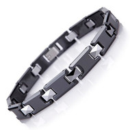 """8.5"""" Inch - Tungsten Bracelet Mens - Duo Tone Black and Silver - Tungsten and Ceramic Men's Link Bracelet"""