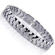 "8.25"" Inch - Tungsten Bracelet Mens - Silver Tone Solid Tungsten Puzzle Piece Link Style Mens Link Bracelet"