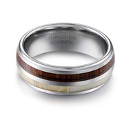 8mm - Unisex or Men's Wedding Tungsten Wedding Band. Antler and Wood Inlay Domed Top Tungsten Carbide Ring. Comfort Fit