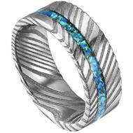 8mm -  Unisex or Mens Real Damascus Steel Band Silver with Blue Opal Inlay Strip Wedding Ring - Flat Style