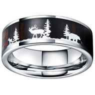 8mm - Unisex or Men's Hunting Ring / Deer Crossing Wedding Band. Silver Tungsten Band with Deer Silhouette over Real Koa Wood. Hunter's Wedding Band Comfort Fit Ring