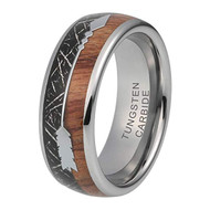 8mm - Unisex or Men's Tungsten Wedding Bands. Silver Tone Cupid's Arrow with Wood and Black Inspired Meteorite Inlay. Tungsten Carbide Domed Top Ring.