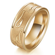 8mm - Unisex or Men's Fishing Ring / Fisherman's Wedding Band. Gold Tone Titanium Band with Embossed Fish Hooks. Wedding Band Comfort Fit Ring