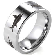 8mm - Unisex or Men's Fisherman's Ring / Fishing Wedding Band. Silver Tungsten Band with Etched Sword Fish Design