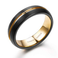 6mm - Unisex or Women's Tungsten Wedding Band. Black and 18K Yellow Gold Grooved Top and Inside. Matte Finish Tungsten Carbide Ring with Beveled Edges