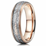 6mm - Unisex or Women's Tungsten Wedding Bands. 18K Plated Rose Gold Tone Cupid's Arrow Ring with Inspired Meteorite Inlay. Tungsten Carbide Domed Top Ring.