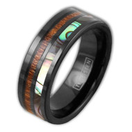 8mm - Unisex or Men's Wedding Tungsten Wedding Band. Black Band - Rainbow Abalone Shell & Wood Inlay. Flat Edged Tungsten Carbide Ring. Comfort Fit Brushed Tungsten Carbide Wedding Ring