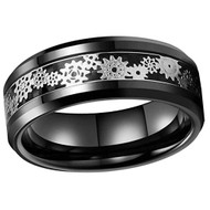 8mm - Unisex or Men's Tungsten Wedding Band. Wedding Band Black with Mechanical Gear Silver Over Black Carbon Fiber. Tungsten Carbide Ring