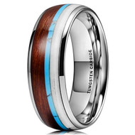 8mm - Unisex or Men's Wedding Tungsten Wedding Band. Silver Band with Blue Calaite Turquoise, White Antler and Wood Inlay. Comfort Fit Tungsten Carbide Domed Top Ring