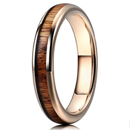 4mm - Unisex or Women's Tungsten Wedding Bands. Wood Inlay and Rose Gold Tone. Tungsten Ring with High Polish Dark Wood Inlay. Beveled Edges