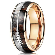 8mm - Unisex or Men's Tungsten Wedding Bands. Rose Gold Cupid's Arrow over Wood Inlay. Tungsten Ring with High Polish Antler and Dark Wood Inlay. Domed Top Ring.