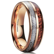 8mm - Unisex or Men's Wedding Tungsten Wedding Band. Rose Gold Tungsten Band with Wood Inlay and Inspired Meteorite. Domed Tungsten Carbide Ring. Comfort Fit