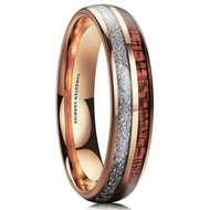 6mm - Unisex or Women's Wedding Tungsten Wedding Band. Rose Gold Tungsten Band with Wood Inlay and Inspired Meteorite. Domed Tungsten Carbide Ring. Comfort Fit