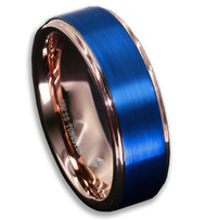 8mm - Unisex or Men's Tungsten Wedding Band. 18K Rose Gold Ring with Blue Matte Finish Top