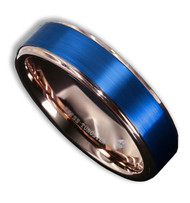 6mm - Unisex or Women's Tungsten Wedding Band. 18K Rose Gold Ring with Blue Matte Finish Top