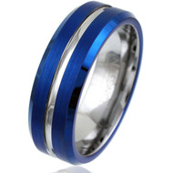 7mm - Unisex or Men's Tungsten Wedding Band. Blue with Silver Groove. Matte Finish Tungsten Carbide Ring. Beveled Edge