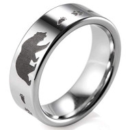 8mm - Unisex or Men's Hunting Ring / Bear Crossing Wedding Band. Silver Tungsten Band with Bear Walking and Paw Prints Laser Design. Hunter's Wedding Band Comfort Fit Ring